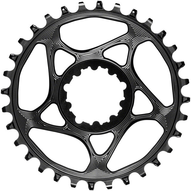 absoluteBLACK Round Narrow-Wide Direct Mount Chainring - 30t, SRAM 3-Bolt Direct Mount, 3mm Offset, Black