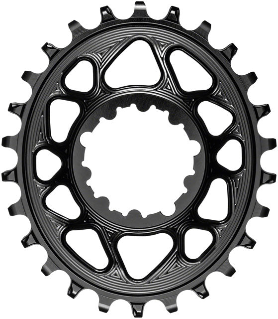 absoluteBLACK Oval Narrow-Wide Direct Mount Chainring - 26t, SRAM 3-Bolt Direct Mount, 6mm Offset, Black
