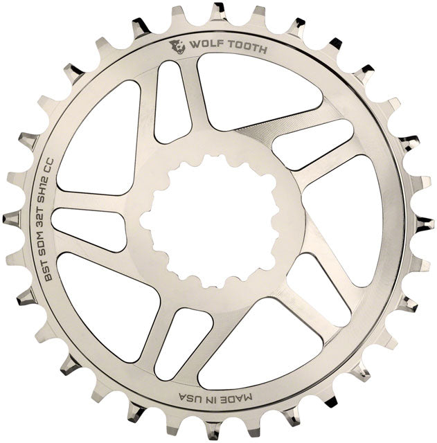 Wolf Tooth Direct Mount Chainring - 32t, SRAM Direct Mount, For SRAM 3-Bolt Boost, Requires 12-Speed Hyperglide+ Chain, Nickel Plated
