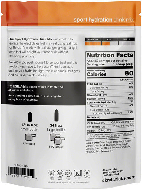 Skratch Labs Sport Hydration Drink Mix: Orange, 60-Serving Resealable Pouch