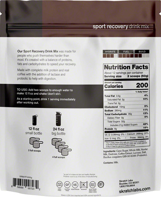 Skratch Labs Sport Recovery Drink Mix: Coffee, 12-Serving Resealable Pouch