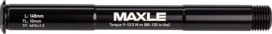 Maxle Stealth Front Thru Axle: 15x100, 148mm Length, Standard (Not Compatible with RS- 1)