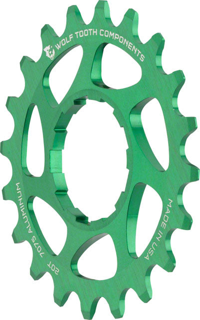 "Wolf Tooth Single Speed Aluminum Cog: 20T, Compatible with 3/32"" Chains, Green"