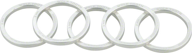 Wolf Tooth Headset Spacer 5 Pack, 3mm, Silver