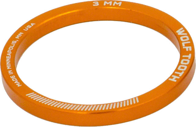 Wolf Tooth Headset Spacer 5 Pack, 3mm, Orange