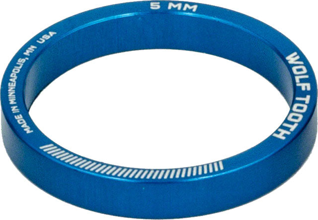 Wolf Tooth Headset Spacer 5 Pack, 5mm, Blue