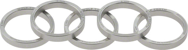 Wolf Tooth Headset Spacer 5 Pack, 5mm, Silver