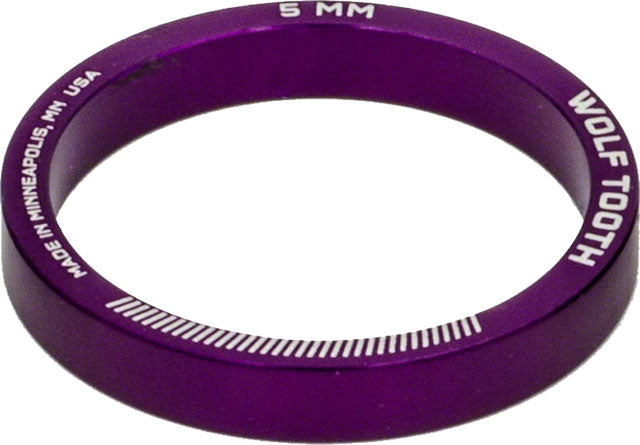 Wolf Tooth Headset Spacer 5 Pack, 5mm, Purple