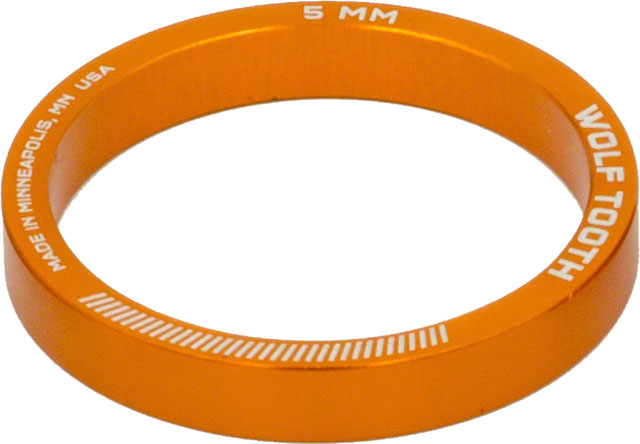 Wolf Tooth Headset Spacer 5 Pack, 5mm, Orange