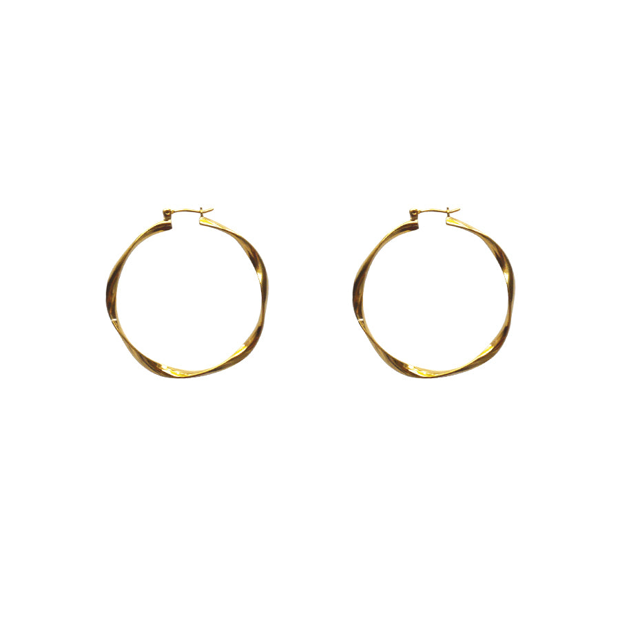 Boucles torsadées or large gold wavy hoops
