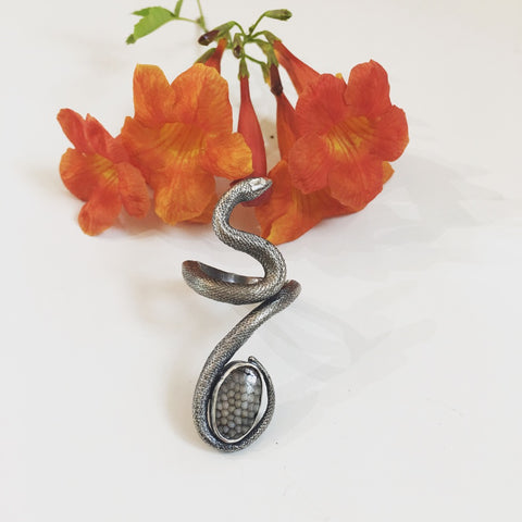 Large Silver Snake Ring with Snakeskin Agate