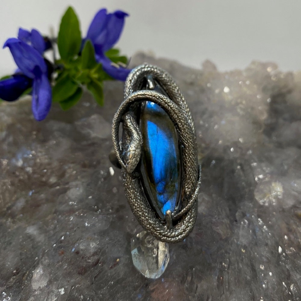 Swirling Snake Ring Blue Labradorite Size 7 March Special Release