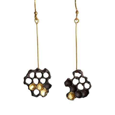 Honeycomb Earrings, Oxidized Sterling with 24kt Gold Leaf
