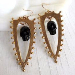 Shield & Skull Earrings, Black and Bronze