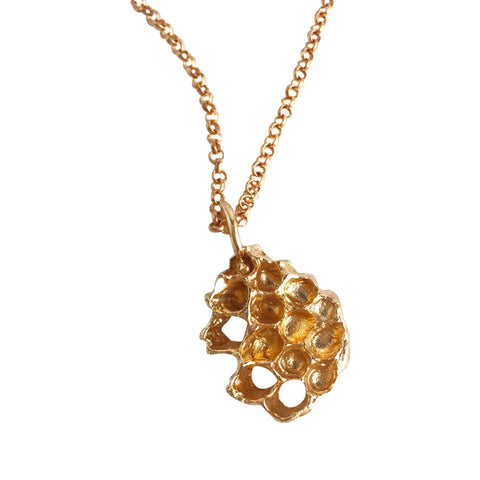 Mini Honeycomb Necklace - Golden Bronze