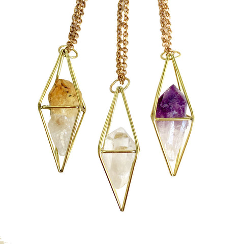 Caged Crystal Amulet Necklace - Healing Crystal Pendulum