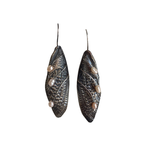 Cicada Wing Earrings with pearls
