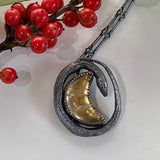 Petite Serpent and the Moon Pendant Sterling and 23kt Gold