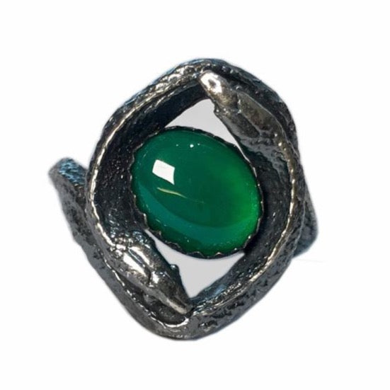 Chase and Scout Jewelry Double Snake Ring in Sterling and Green Onyx