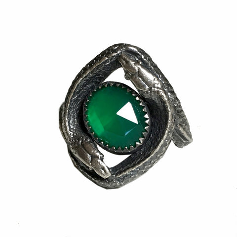 The Twins Double Snake Ring in Sterling Silver with Green Onyx
