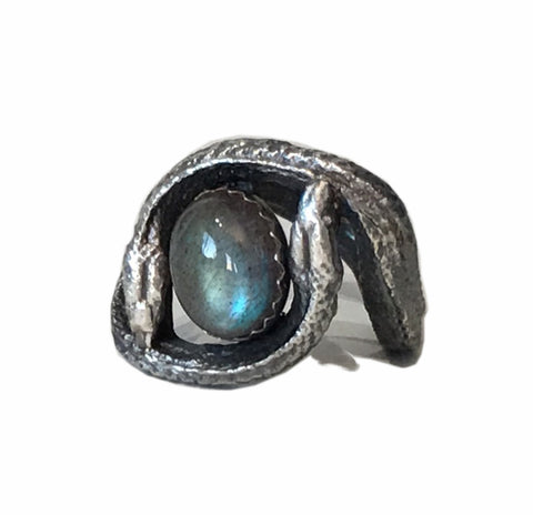 The Twins Double Snake Ring in Sterling Silver with Labradorite, Garnet, Turquoise or Amethyst