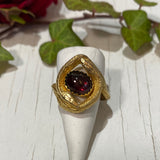 14kt Gold Vermeil and Garnet Twins Ring