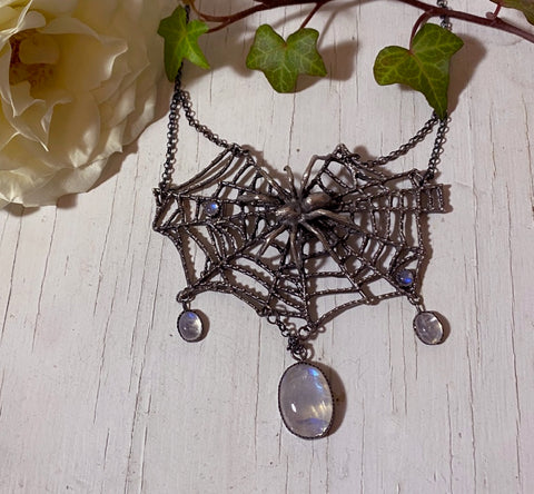 Moonstone Spider's Web Necklace - Special Release