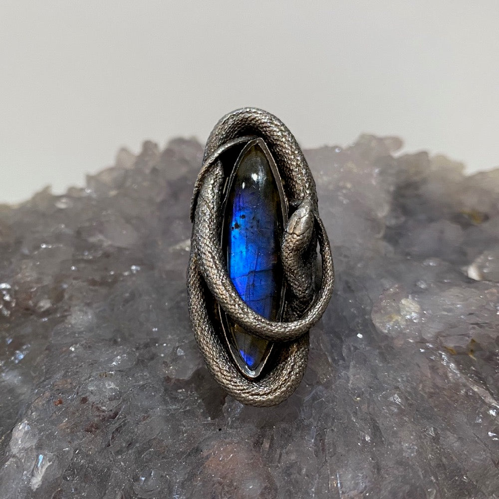 Swirling Snake Ring Blue Labradorite SIZE 8 - May Release and Benefit