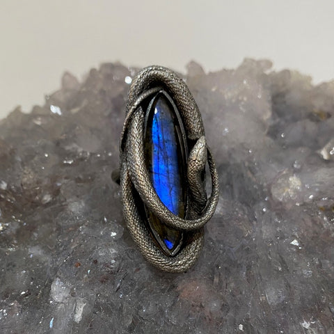Layaway for MLH Swirling Snake Ring Blue Labradorite SIZE 6.5