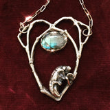 Southern Summer Cicada Pendant in Sterling with Labradorite