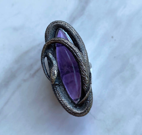 Deep Amethyst Swirling Snake Ring size 7.5 July Special Release