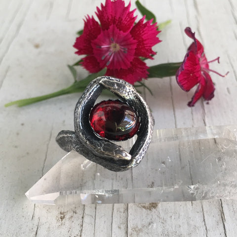 The Twins Double Snake Ring in Sterling Silver with Choice of Gemstone