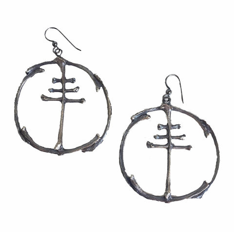 Bone Hoop and Cross Earrings