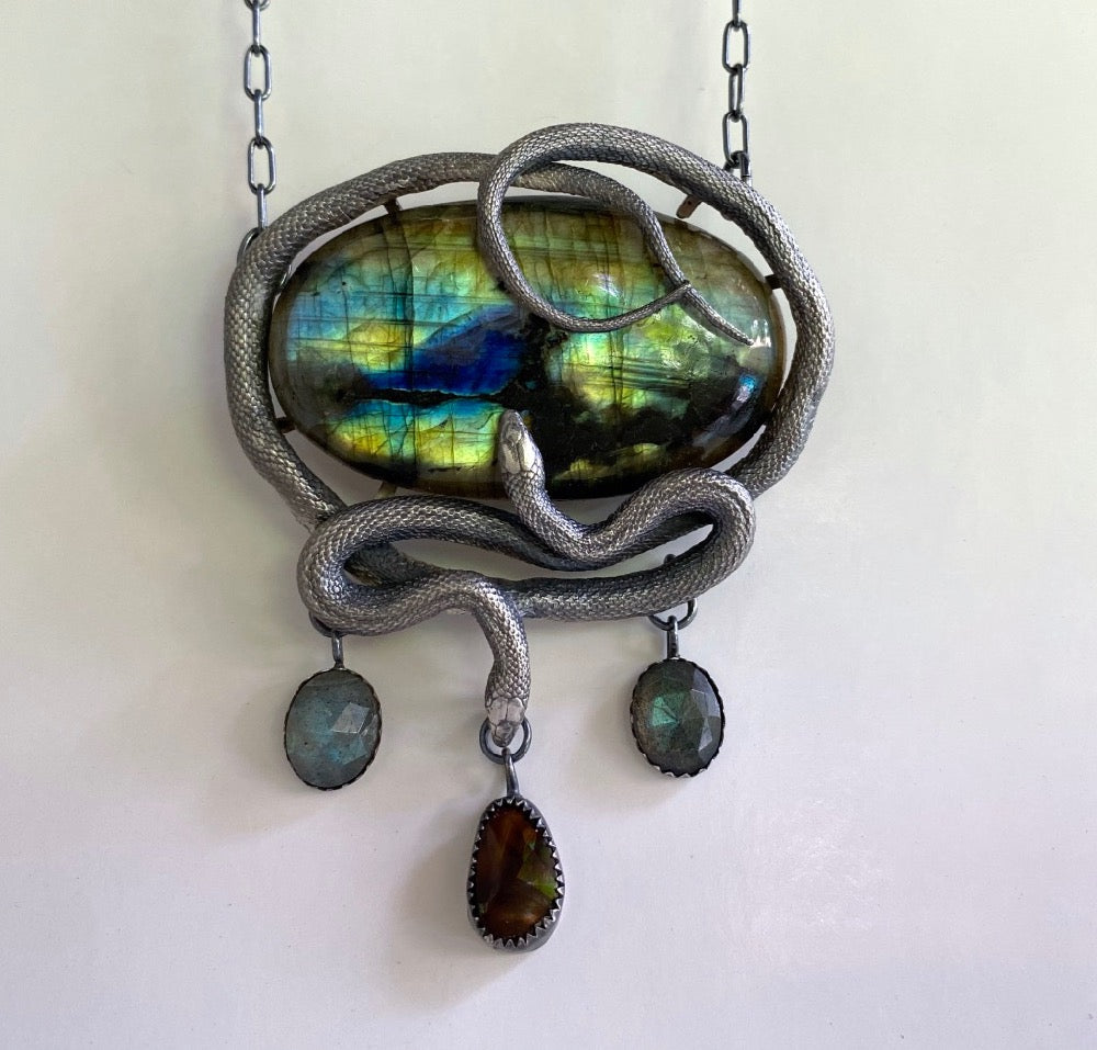 Double Serpent Spectrolite, Labradorite and Fire Agate Pendant July Special Release