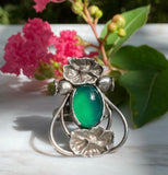 JULY RELEASE Art Nouveau Poppy Ring Green Onyx Sterling