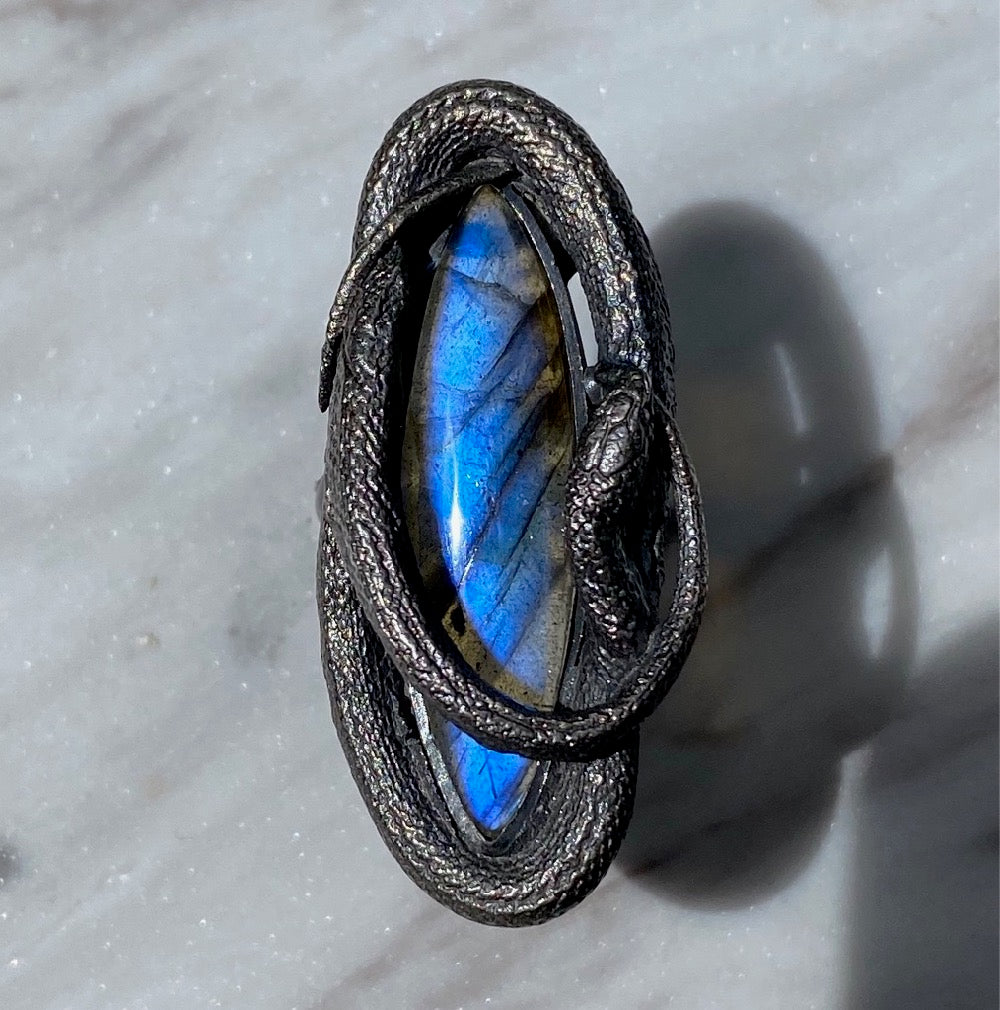 Vibrant Blue Labradorite Swirling Snake Ring Size 8 July Special Release