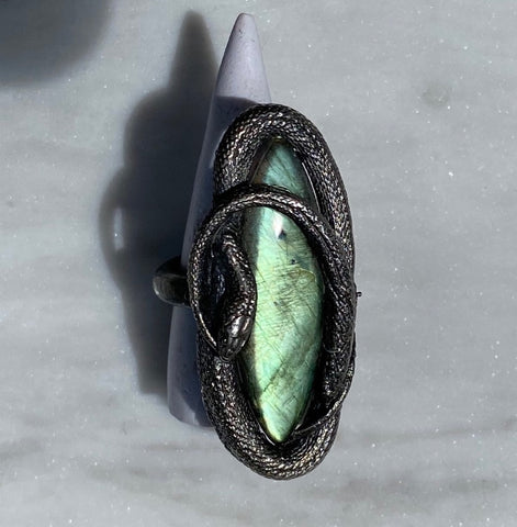 Green Labradorite Swirling Snake Ring Size 8 July Special Release