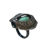 Shadow Box Turtle Shell Turquoise Ring
