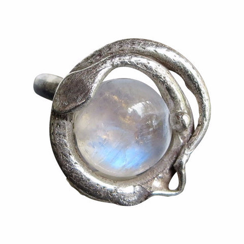 Ouroboros Snake Ring w. Moonstone or Garnet