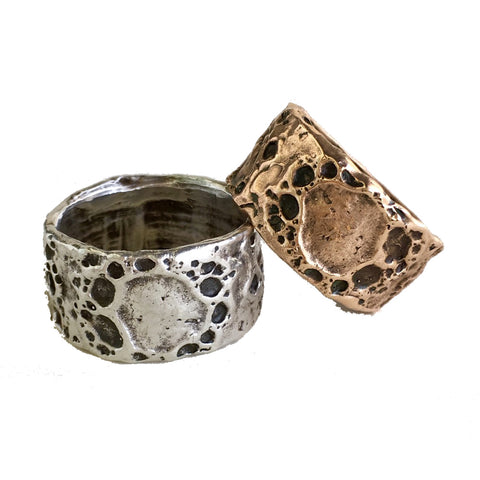 Lunar Landscape Ring Band Bronze or Silver