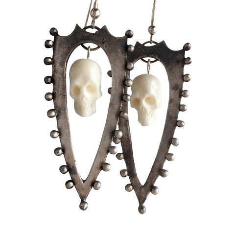Shield & Skull Earrings, Ivory and Silver