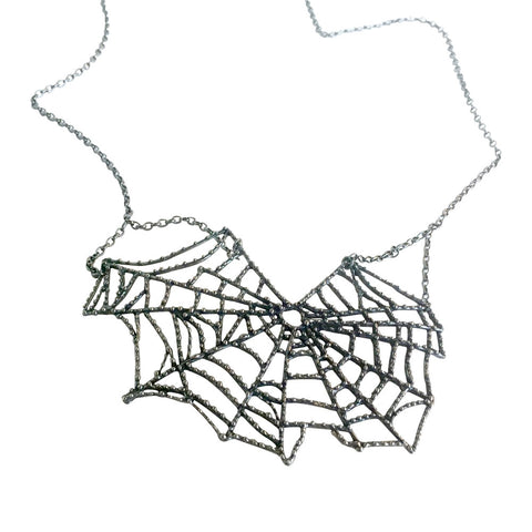 Sterling Spider's Web Necklace