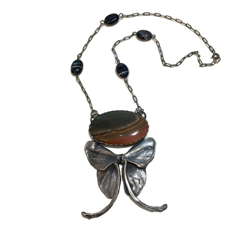 Bone Maiden Swallowtail Butterfly Necklace with Agate