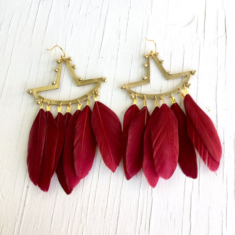 Tumi Earrings, Crimson