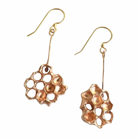 Honeycomb Earrings - Golden Bronze