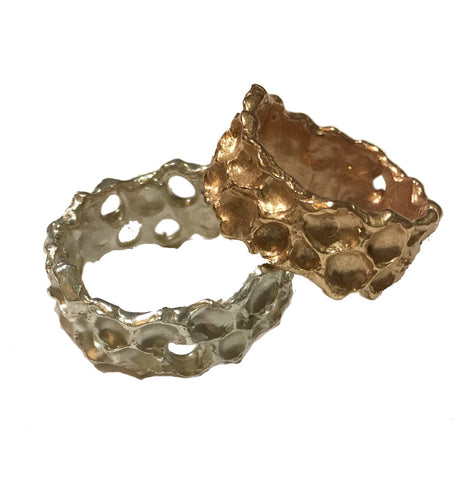 Honeycomb Ring, Sterling Silver or Golden Bronze