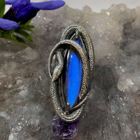 Swirling Snake Ring Size 7.5 Blue Labradorite March Special Release