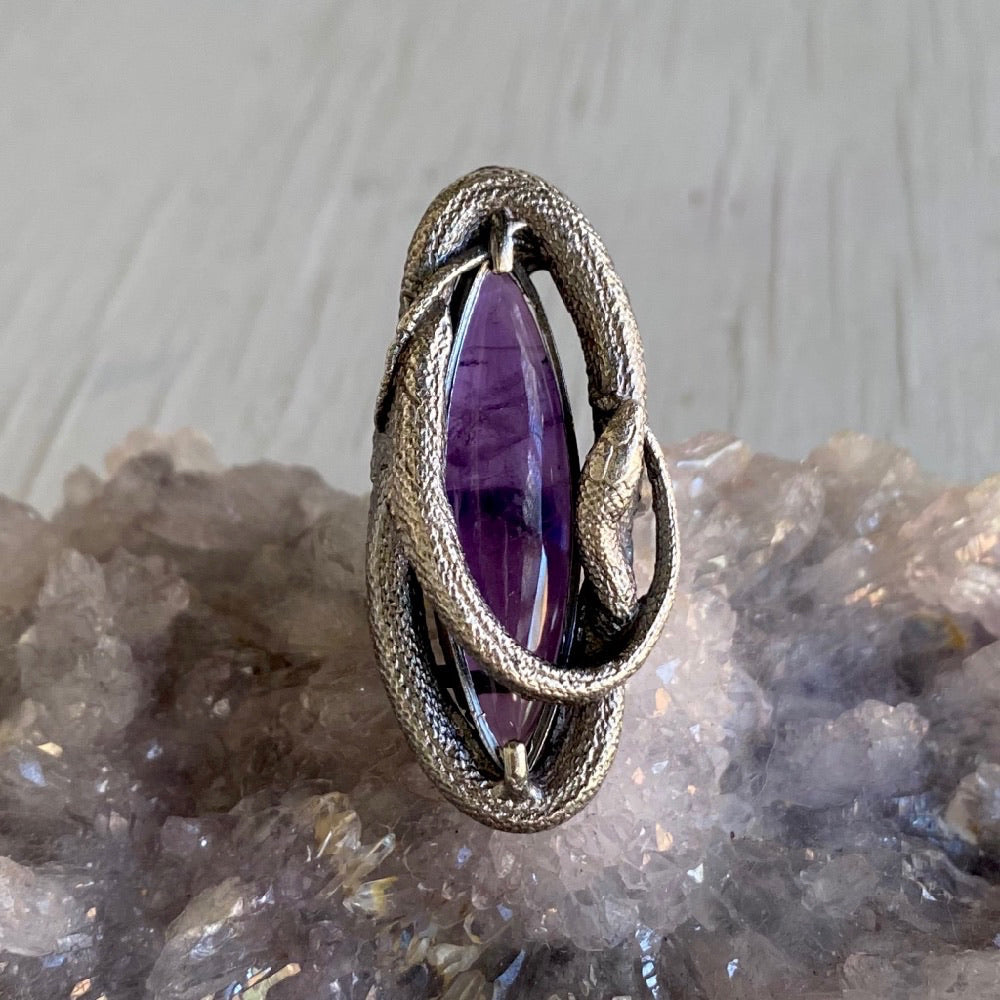 Swirling Snake Ring Amethyst Size 8 March Special Release