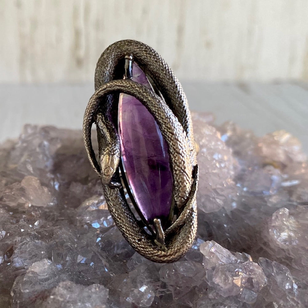 Swirling Snake Ring Amethyst Size 7 March Special Release