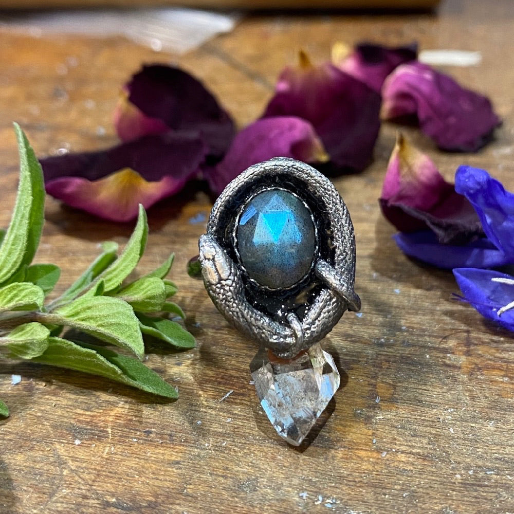 Orphic Egg Ring Size 7 Faceted Labradorite and Black Glass Enamel March Special Release